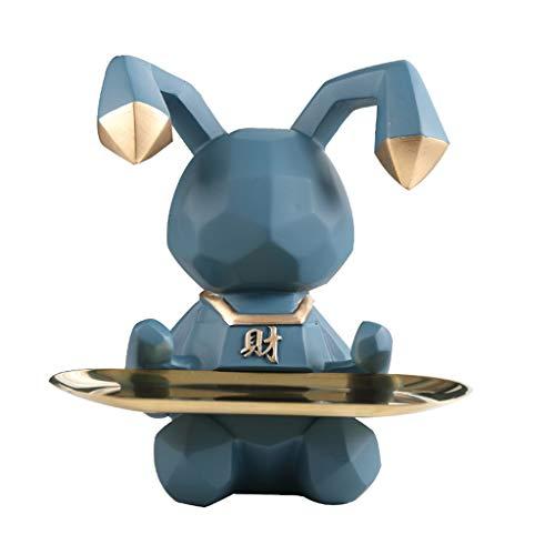Bandeja De Joyería, Bandeja De Plato De Baratija Decorativa, Llavero Organizador Para Entrada, Bandeja De Almacenamiento De Valet Para El Hogar Y La Oficina-9.05x6.69x9.05 Pulgadas ( Color : Blue )