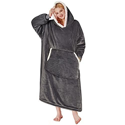 Yescool Oversized Wearable Blanket Hoodie, Flannel Sherpa Fleece Blanket Sweatshirt for Adults Women...