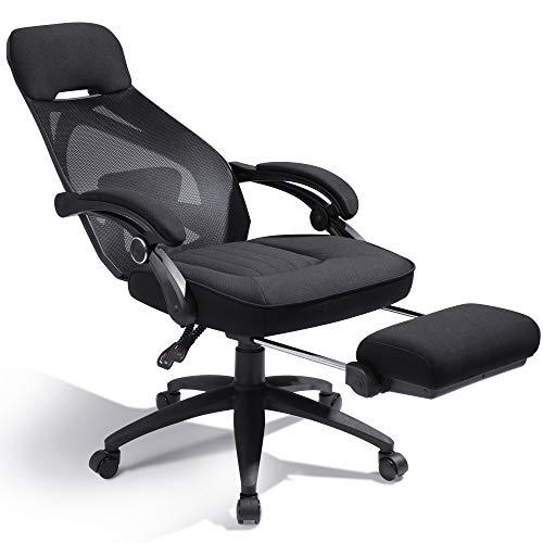 DEVAISE オフィスチェア オットマン付き 160°リクライニング デスクチェア パソコンチェア ハイバック メッシュ 通気性 ブラック ORABGY601BL