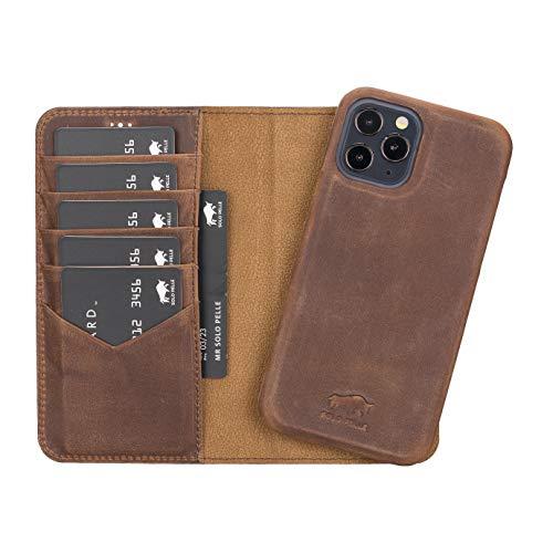 Solo Pelle Lederhülle kompatibel für iPhone 12 I 12 Pro in 6.1 Zoll abnehmbare Hülle (2in1) inkl. Kartenfächer für das original Apple iPhone 12+12Pro (Vollleder Vintage Braun)