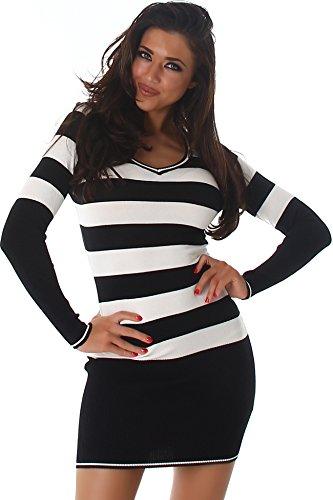 Jela London Slim-Fit Pullikleid Longpulli Pullover dünn Minikleid Feinstrick Streifen V-Ausschnitt, Schwarz