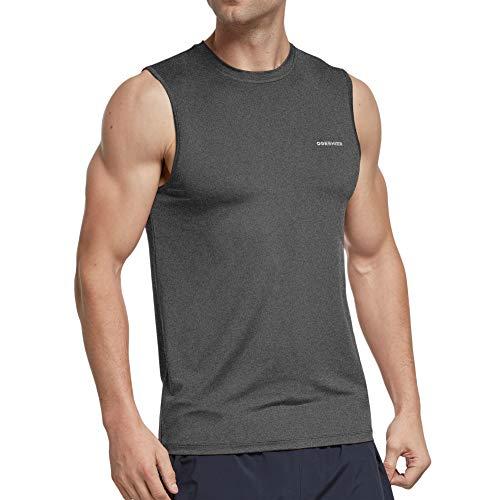 Ogeenier Męska koszulka treningowa bez rękawów szybkoschnąca siłownia kamizelka do biegania top z mięśniami tank top, szary, M