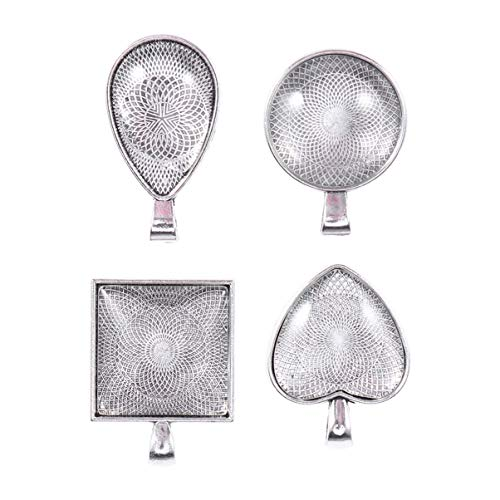 HEALLILY bandejas Colgantes Bisel Redondo Espacios en Blanco aleación de Metal cabujón Redondo con baldosas de cúpula Redondas para fabricación de Joyas DIY 24 Piezas