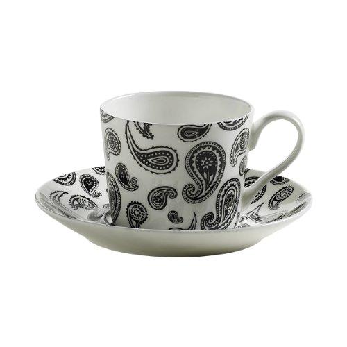 Maxwell & Williams S84003 Art Deco Tasse mit Untertasse, Kaffeetasse, Paisley, in Geschenkbox, Porzellan