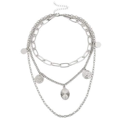 joyMerit Women Mens Multi-layer Coins Chain Pendant Necklace Hip Hop Choker Jewelry - Silver, 36cm