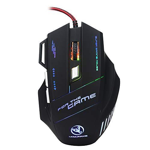 HXSJ Gaming Mouse Ergonomische Bedrade Gaming Muis Kleurrijke Ademhalingslicht Gaming Muis met Verstelbare 5 DPI Niveaus met 7 Auto Veranderende Kleuren voor Pro Gamer Win 7/8/10 of nieuwste