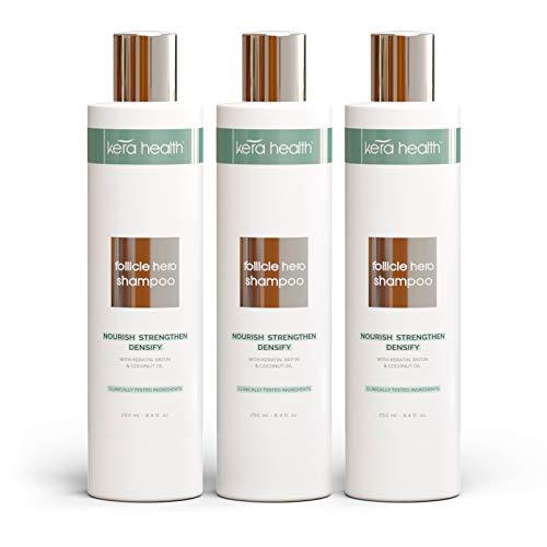 Follicle Hero Hair Growth Shampoo, Hair Loss Shampoo for Women and Men, Paraben Free Hair Thickener for Fine Hair, 3 Bottles, 8.4 fl oz - KeraHealth