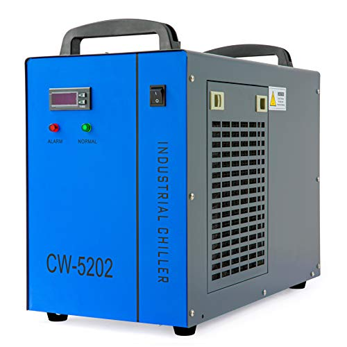 OMTech 6L Dual Industrial Water Chiller 0.9hp 3.2gpm Water Cooling System CW-5202 Water Cooler w 2 Inlets & Outlets to Chill Two 60W 70W 80W 90W 100W 120W 150W CO2 Laser Engraving Machines