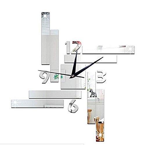 QYL Vierkante geometrie spiegel klok wandsticker slaapkamer woonkamer wanddecoratie zilver