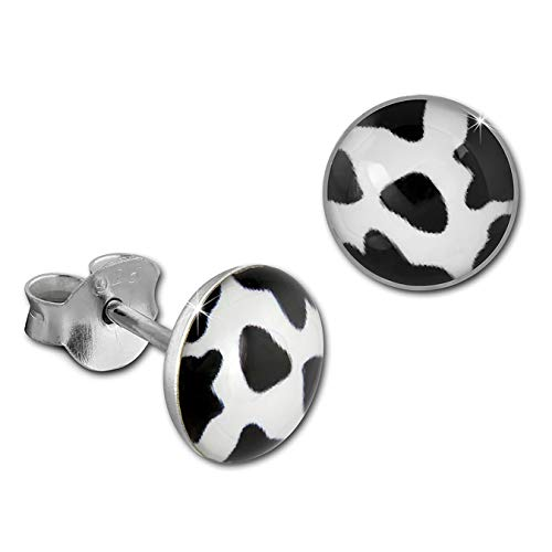 SilberDream Ohrringe 8mm Damen 925 Silber Ohrstecker Kuh weiß schwarz SDO8512S