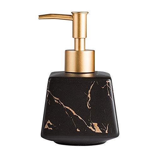 Dispenser di sapone in ceramica con pompa in acciaio inox antiruggine da controsoffitto bottiglie sapone shampoo e lozioni dispenser per cucina hotel bagno camera da letto bagno (nero)