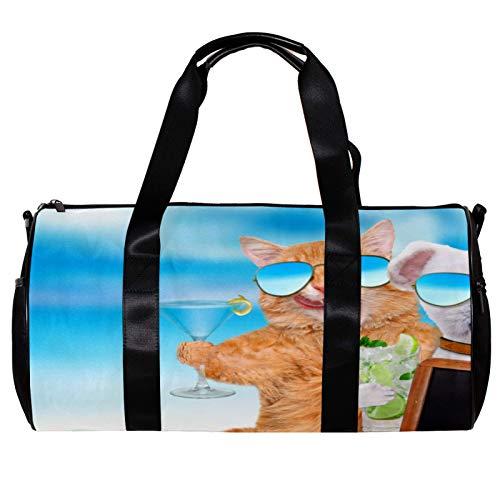 Bolsa de deporte redonda con correa de hombro desmontable para gatos y perros con gafas de sol relajantes en el fondo del mar, bolsa de entrenamiento para mujeres y hombres