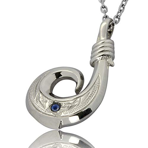 Hawaiian Fish Hook Necklace by Austaras - Necklace Pendant for Men and Women - 925 Sterling Silver Hypoallergenic Jewelry with Chain Made of 316L Stainless Steel with Sapphire