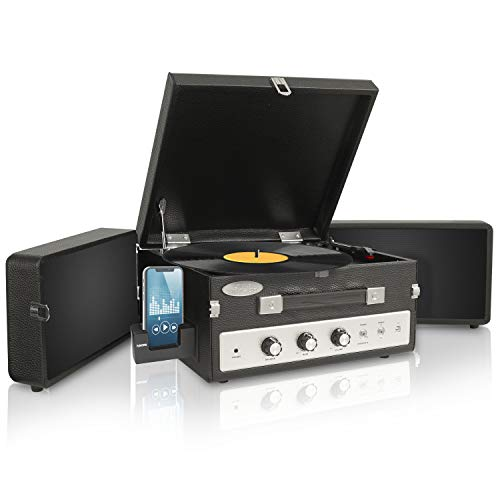 Updated Version Pyle Portable Bluetooth Suitcase Record Player w/ Dual Fold-Out Speaker System, Aux-In and Bluetooth, Vintage Retro Classic Style, Vinyl-To-MP3 Recording, PC Encoding, 45 RPM Adaptor