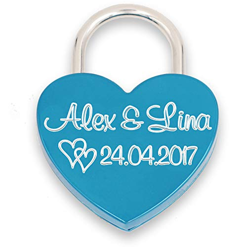 Liebesschloss Herzschloss persönliche Gravur Geschenk Jahrestag Valentistag blau