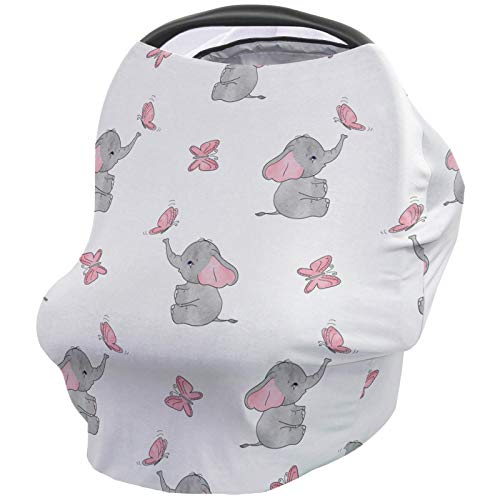 Elephant Nursing Covers for Breastfeeding Baby Stroller and Car Seat Combo Pink Girl Magic Butterfly Carseat Canopy Baby Cart High Chair Infinity Scarf