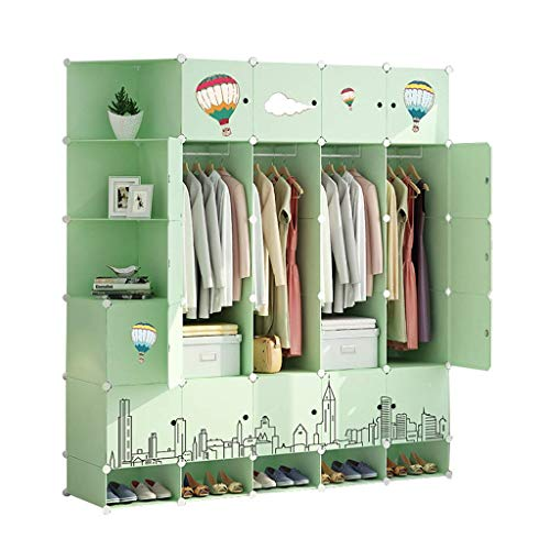 Chests GGJIN Wardrobe Simple Assembly Fabric Bedroom Home Storage Hanging Imitation Wood Plastic Cloth Closet Cabinet
