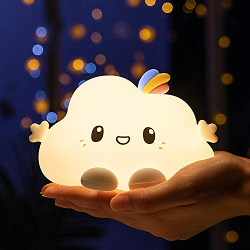 Cute Bright Cloud Infant Night Light, Portable Battery Operated USB Rechargeable Silicone Nursery...