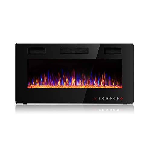 Vitesse 36 inch Wall Mounted and Recessed Electric Fireplace, Adjustable Flame Color and Speed Fireplace Heater Fit for 2 x 4 and 2 x 6 Stud with Touch Screen Control Panel, Remote Control