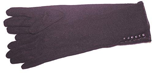 DIDSO Damen Feinstrick Handschuhe, extra lang, mit Knopfverschluss, warm, modisch, günstig, reduziert, Lila