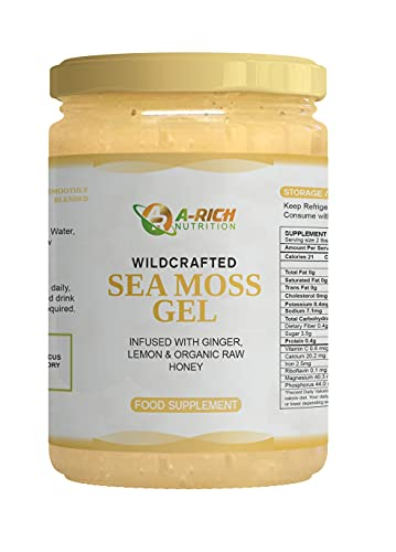 Sea Moss Gel Wildcrafted Ginger Lemon Honey Vitamins Minerals Superfood 340ml