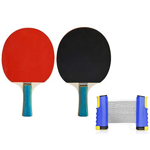 LHR Juego De Tenis De Mesa Retráctil, Juego De Raquetas De Tenis De Mesa Equipo De Entrenamiento De Tenis De Mesa Adecuado para Niños Adultos Equipo Deportivo