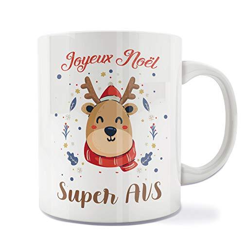 Mug | Tasse | Café | Thé | Petit-déjeuner | Vaisselle | Céramique | Original | Imprimé | Message | Fêtes | Idée cadeau | Renne de Noël - Joyeux Noël Super AVS