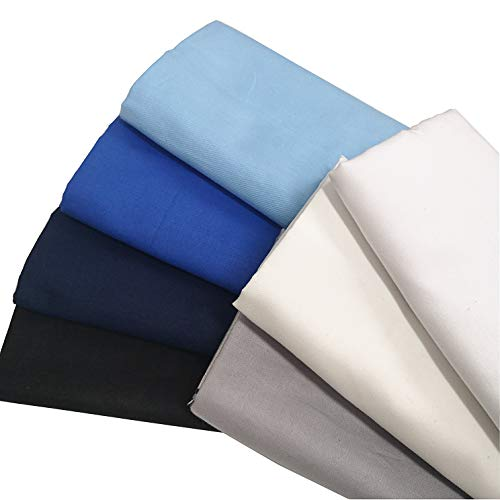 ZAIONE - 7 piezas de tela de sarga suave, 50 cm x 50 cm, color sólido, 100% algodón, tela de sarga suave, camisa, acolchada, costura, manualidades, 7 piezas
