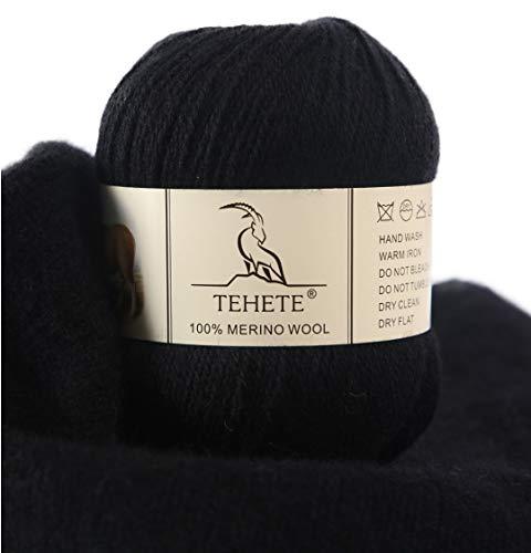 TEHETE Ovillo de lana, 100% Hilados de lana merino Hilo 50g para manta, suéter calcetín, bufanda, diy, ganchillo y tejido(Negro)