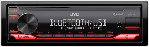 JVC KD-X272BT - Receptor Multimedia Digital con Manos Libres BT (sintonizador de Alto Rendimiento, procesador de Sonido, USB, AUX, Control de Spotify, 4 x 50 W, iluminación de Teclas Rojas)