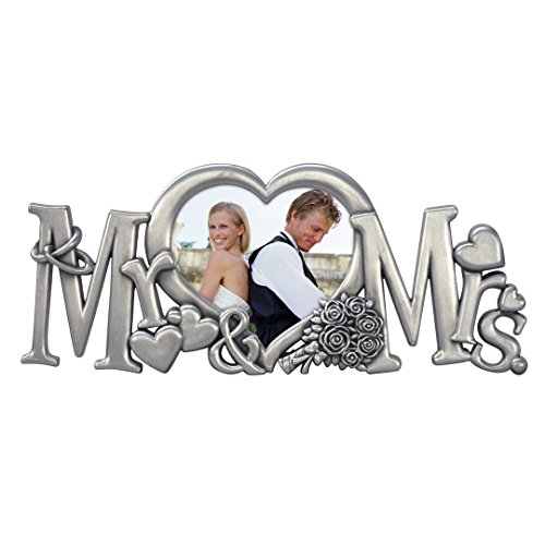 Malden International Designs Mr. & Mrs. Metal Wedding Picture Frame, 3x4, Silver
