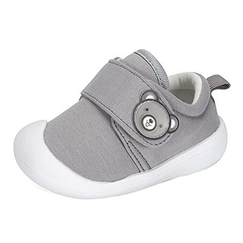 MASOCIO Dziecięce buty do nauki chodzenia dla chłopców dziewcząt buty sportowe gumowe antypoślizgowe buty do domykania, Szary - szary - 19 EU