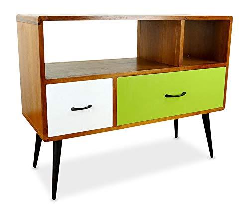 livasia Java Retro Sideboard aus Teakholz | Vintage TV-Bank aus Massivholz | Teakholz Lowboard | Asia HiFi-Möbel (Handarbeit) | Asiatische Möbel der Marke Asia Wohnstudio