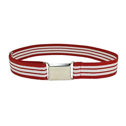 CRRE Kinder Kindergürtel elastisch verstellbar elastischer Unisex-Gürtel Silber quadratische Schnalle Jungen und Mädchen elastischer Gürtel einfarbiger Hosengurt (X)