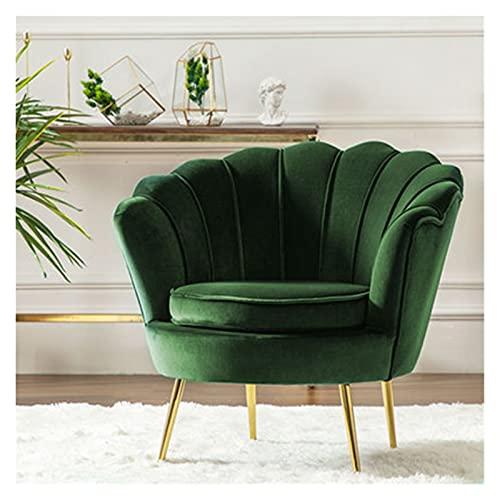 Moderna moderna poltrona in velluto a forma di petalo moderna poltrona da poltrona con gambe metalliche divano minimalista sedie singoli divani for soggiorno camera da letto ( Color : Dark green )