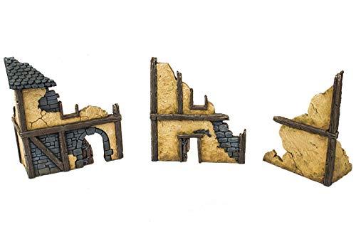 War World Gaming Fantasy Village - Set de 3 Casas en ruinas - 28mm Wargaming Medieval Miniaturas Maquetas Dioramas Edificios Wargames Guerra Aldea Edad Media