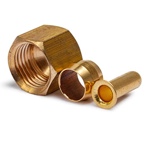 LTWFITTING Value Pack 1/4-Inch OD Brass Compression Insert,Sleeve Ferrule,Nut (Pack of 125)