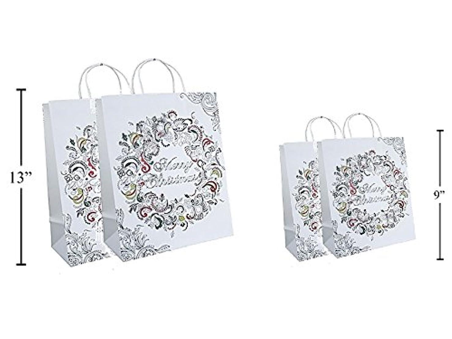 Christmas Paper Color-Me Gift Bags 4 Pack (2ea Large & 2ea Medium Combo)