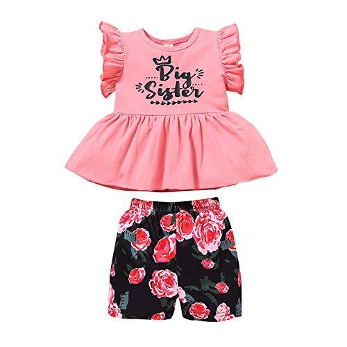 Bebé Niña 2 Piezas Conjunto de Ropa Verano para Hermanas Camiseta de Manga Corta con Volantes + Pantalones Cortos Braguitas Traje de Hermanitas con Estampado de Letra y Flores