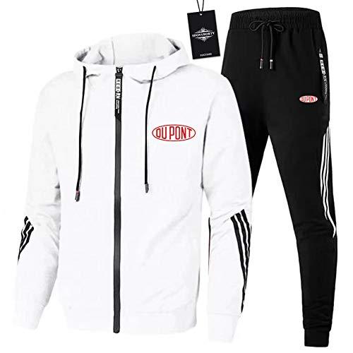 MQJUNZE de Los Hombres Chandal Conjunto Trotar Traje DU_PONT-s Hooded Zipper Chaqueta + Pantalones Deporte X/Blanco/XXL