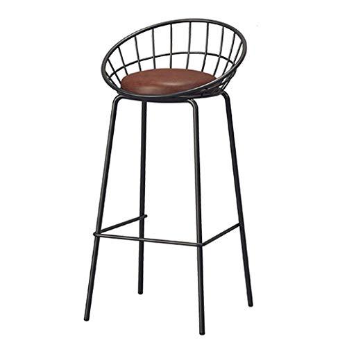 HLWJXS Barhocker, Bar, Restaurant, Stuhl, Homekitchen Hochstuhl Nordic Back Chair Mit Kunstledersitz Fußstütze Für Business Office Pub Café,Braun,Höhe 75 cm (29,5 Zoll)