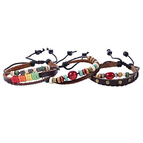 Morella Damen Fashion Lederarmband Set 3 Armbänder geflochten
