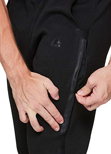 RBX Active Men's Athletic Fleece Lined Tapered Jogger Sweatpant with Pocket - black - Medium