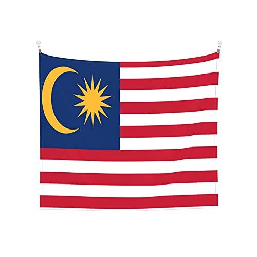 Malaysia-Flagge, Tapisserie, Wandbehang, Boho, beliebt, mystisch, Trippy, Yoga, Hippie, Wandteppiche für Wohnzimmer, Schlafzimmer, Wohnheim, Heimdekoration, schwarz & weiß, Stranddecke