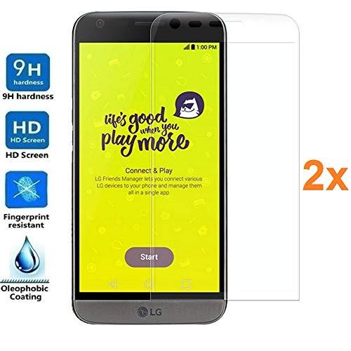 REY 2X Protector de Pantalla 3D para LG G5, Transparente, Protección Completa,...