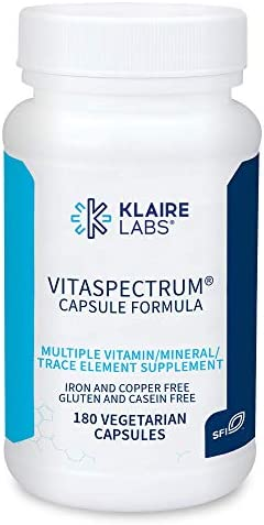 Klaire Labs VitaSpectrum Capsules - Multivitamin & Multimineral for Kids with 28 Essential Nutrients Including Folate, B12, B6, Antioxidants, Vitamin E & D3 - No Copper or Iron, Gluten-Free (180ct)