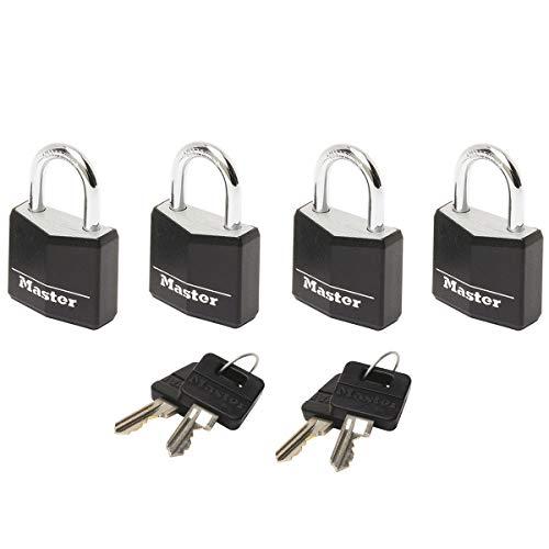 MASTER LOCK Kleine Vorhängeschlosser Set [Schlüssel] [4er-Pack] [Familienpackung] [Gleichschliessend] 9120EURQBLKNOP - Ideal für Rucksäcke, Gepäck, Computertaschen und mehr