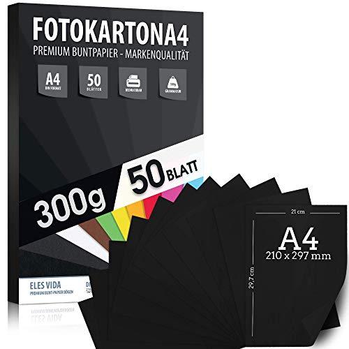 50 vellen zwart PROFI fotokarton A4-300 g/m² sterk gitzwart - kartonnen kaartenset voor hobby-, kinder- en doe-het-vellen, handwerkaccessoires voor fotoalbums, geschenken - MADE IN GERMANY