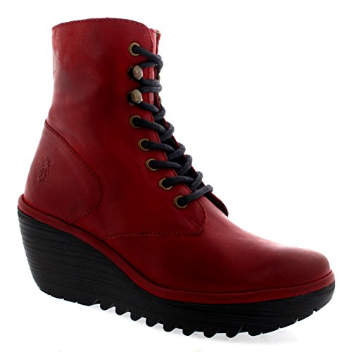 FLY London Womens Ygot Nevada Leather Wedge Heels Lace Up Ankle Boots - Red - 7