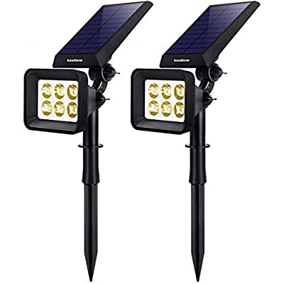 InnoGear Solar Lights Outdoor, 6 LED Solar Landscape Spotlights 2-in-1 IP65 Waterproof Auto On/Off Outdoor Lights Decorative Wall Light for Yard Garden Driveway Pathway Pool, Pack of 2 (Warm White)